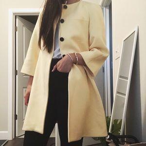 Zara pastel yellow round neck coat
